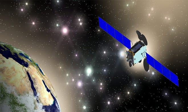 Artist rendering of Qatar's Es'hail-2 communications satellite in orbit after launching from Kennedy Space Center on a SpaceX Falcon 9 rocket.