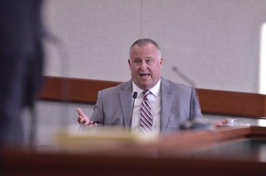 Former Burlington police officer turned criminal justice instructor David Scibek, testifies in his own defense at Vermont Superior Court in Burlington on Nov. 14, 2018.