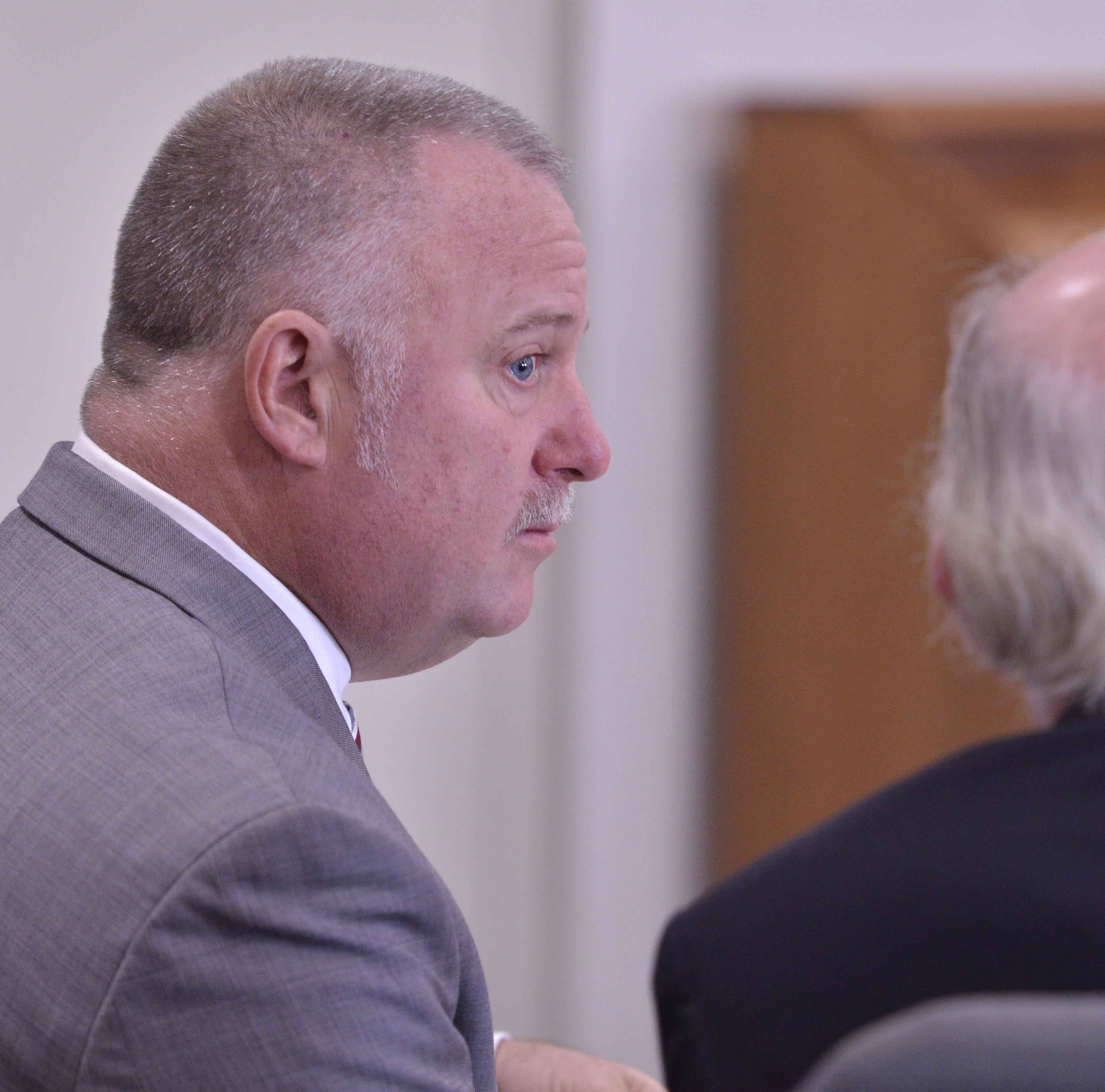 David Scibek with his lawyer Ernest  Allen during a trial regarding an accusation that Scibek hurt a student in his class on Nov. 14, 2018 at Chittenden Criminal Court in Burlington.