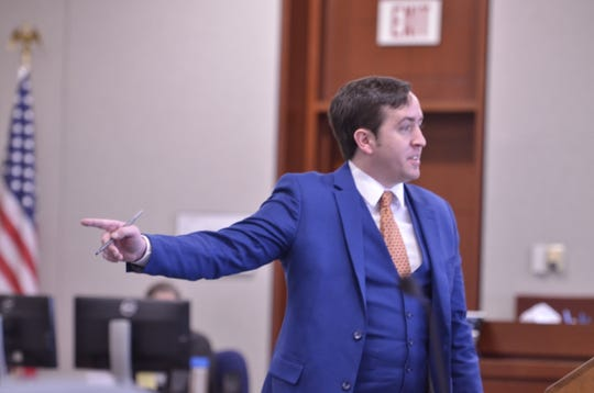 Joe Stain, seen giving opening arguments for the state as an assistant to attorney Franklin L. Paulino at the trial of David Scibek on Nov. 14, 2018 at Chittenden County Criminal Court in Burlington.