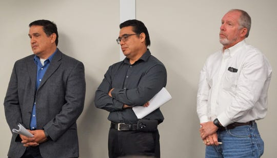 From left are Juan Pimentel, Nueces County engineer; Edward Herrera, inland parks director; and John Michael, with Hanson Professional Services Inc. at the Nov. 14, 2018 Nueces County Commissioners Court meeting.