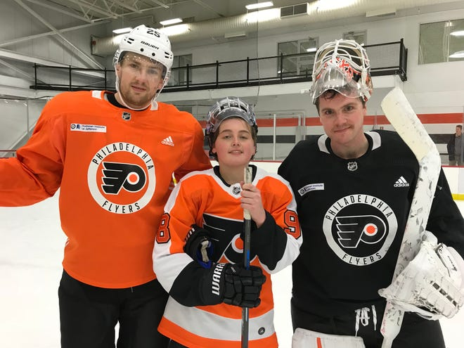 Luke Rogers, center, got to shoot on Flyers goalie Cal Pickard and play with one of his idols in fellow New Jersey native James van Riemsdyk.