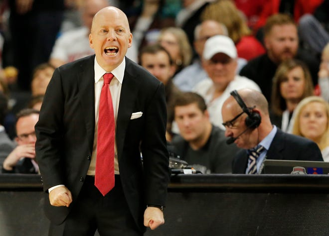 Cincinnati Bearcats head coach Mick Cronin shouts to his defense in the first half of the NCAA basketball game between the Cincinnati Bearcats and the North Carolina Central Eagles at Fifth Third Arena in Cincinnati on Tuesday, Nov. 13, 2018. The Bearcats led 34-19 at halftime.