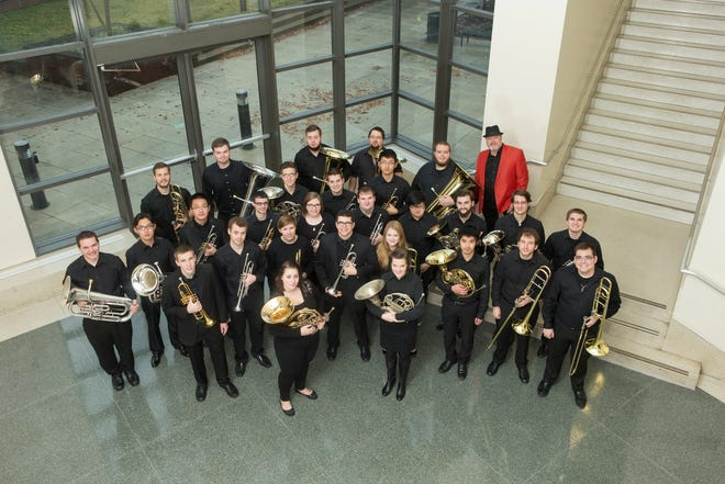 The College-Conservatory of Music's Brass Choir. The ensemble will perform a Brass Showcase at 8 p.m. Monday, Nov. 19 in Corbett Auditorium. As with many of CCM's performance, admission is free. The group is seen here with former director, Timothy Northcut, in the upper right in a red sports coat.