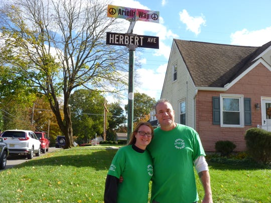 Bobby and Lisa Hopkins at an event commemorating their late daughter Ariella Hopkins in Milltown on Nov. 3.