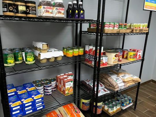 Racks of food in the Client Choice section of the Franklin Food Bank's news location in Franklin.