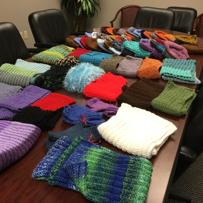 This a sampling of some of the hats and scarves that have come in this week for the agencies we're working with. It's particularly gratifying to have so many items that either a man or a woman would be happy to wear.