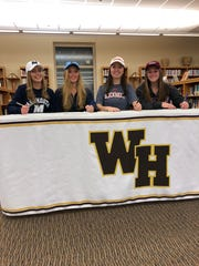 From left to right: Watchung Hills' Madelyn Murphy, Kelly Fitzgerald, Kaylee Donnelly and Lindsay Wolf all signed their National Letters of Intent on Wednesday, Nov. 14, 2018.