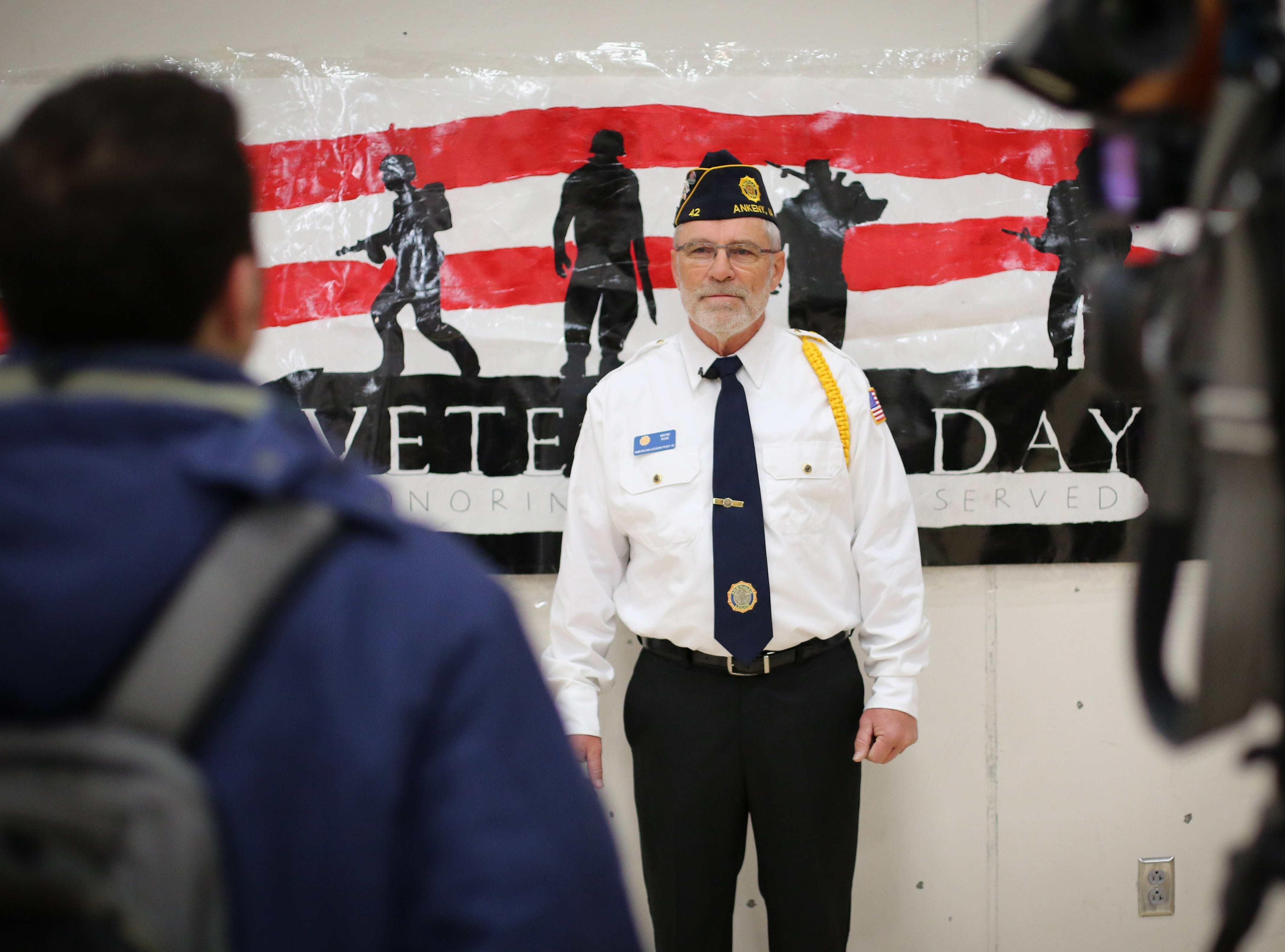 Wayne Rude, who served in the Marine Corps, is interviewed during Veterans Day Breakfast at Northview Middle School on Wednesday, Nov. 14, 2018 in Ankeny, Iowa.