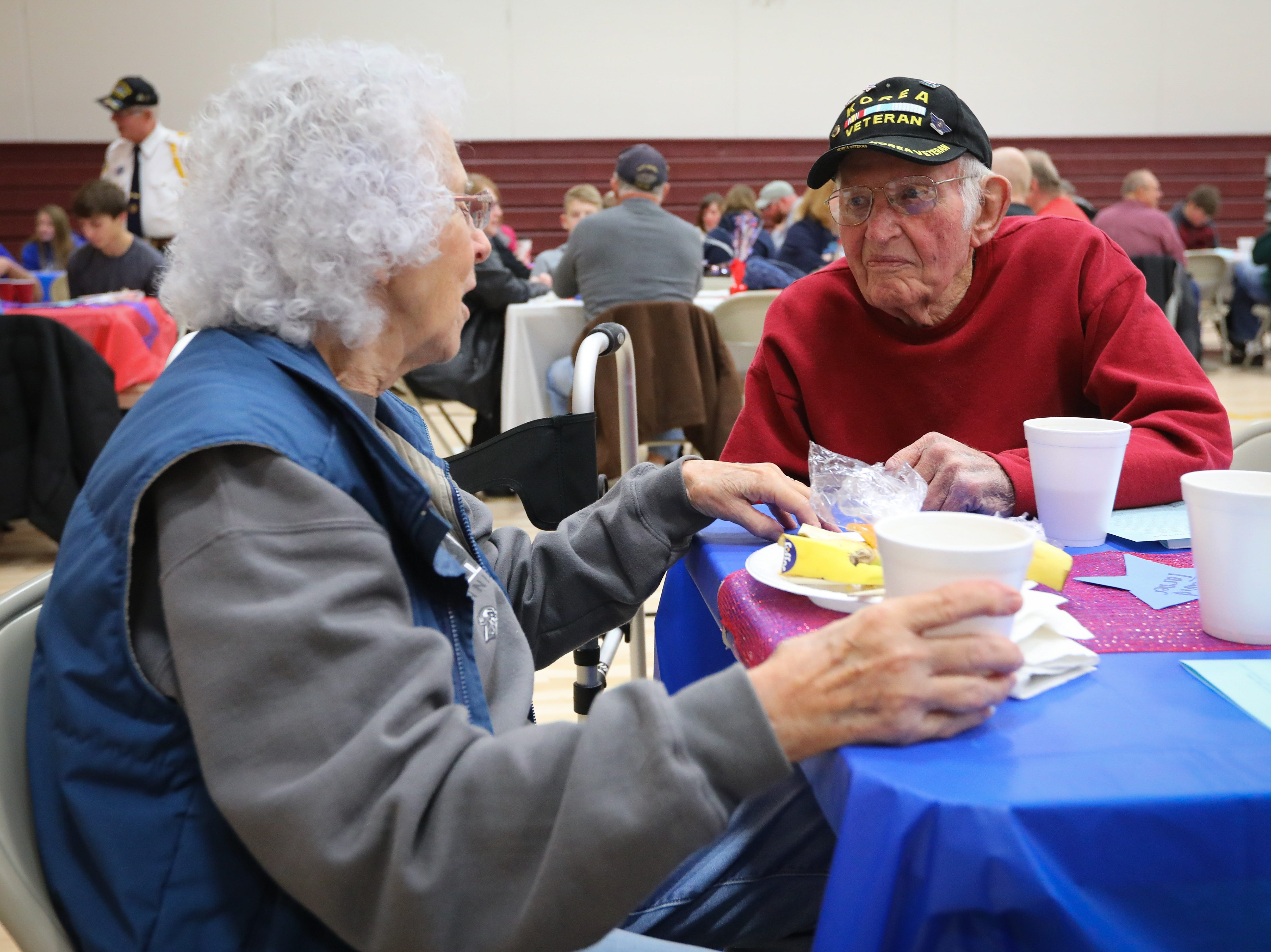 Paul Friedel, who served in the Air Force, talks during Veterans Day Breakfast at Northview Middle School on Wednesday, Nov. 14, 2018 in Ankeny, Iowa.