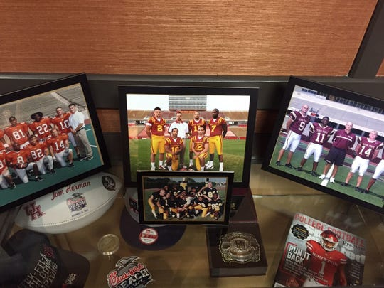 Texas coach Tom Herman has this picture from his Iowa State days. Left to right, Steele Jantz, Jared Barnett, Jerome Tiller, Sam Richardson, JaQuaris Daniels.  Randy Peterson Remembering his roots. Herman has this picture from his ISU days. L to R: Steele Jantz, Jared Barnett, Jerome Tiller, Sam Richardson, JaQuaris Daniels