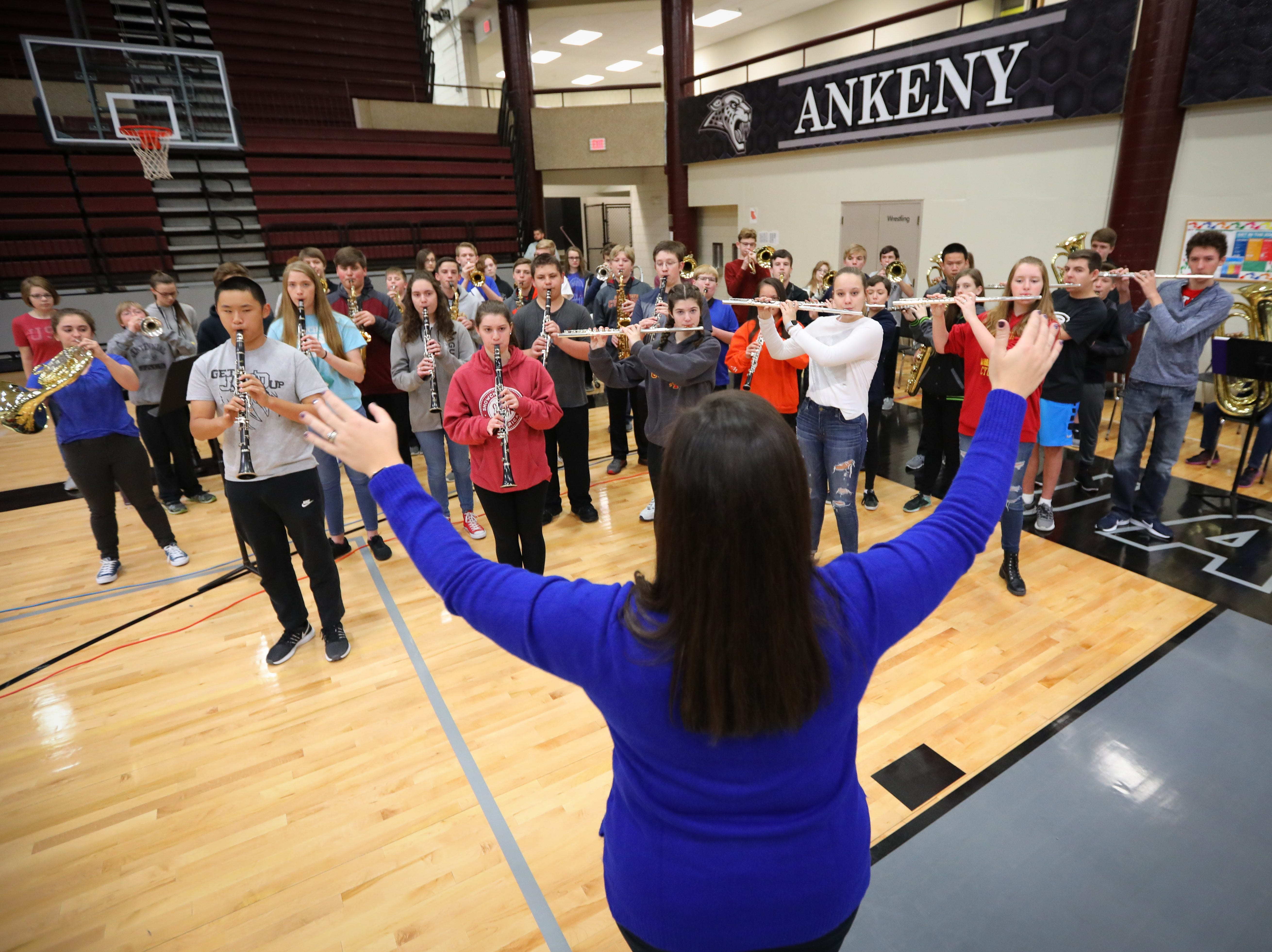 The Northview Middle School Band plays the national anthem at Veteran's Day Breakfast at Northview Middle School on Wednesday, Nov. 14, 2018 in Ankeny, Iowa.