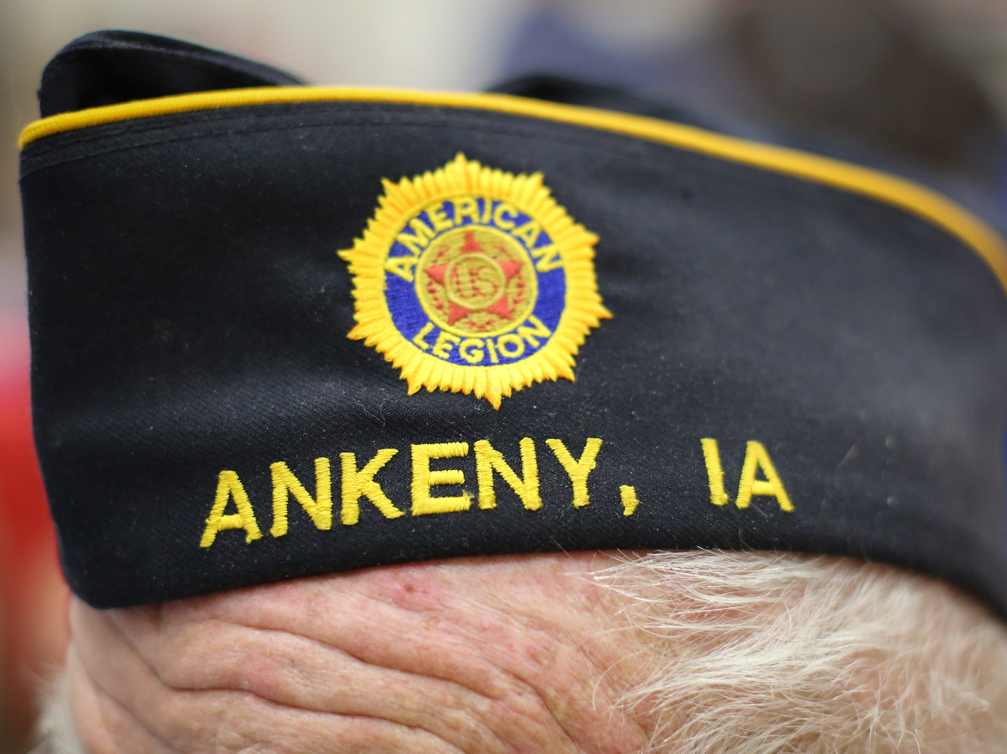 A detailed view of Gerald Ballard's hat, a lifelong Ankeny resident who served in the Coast Guard and is a WWII veteran, during Veterans Day Breakfast at Northview Middle School on Wednesday, Nov. 14, 2018 in Ankeny, Iowa.