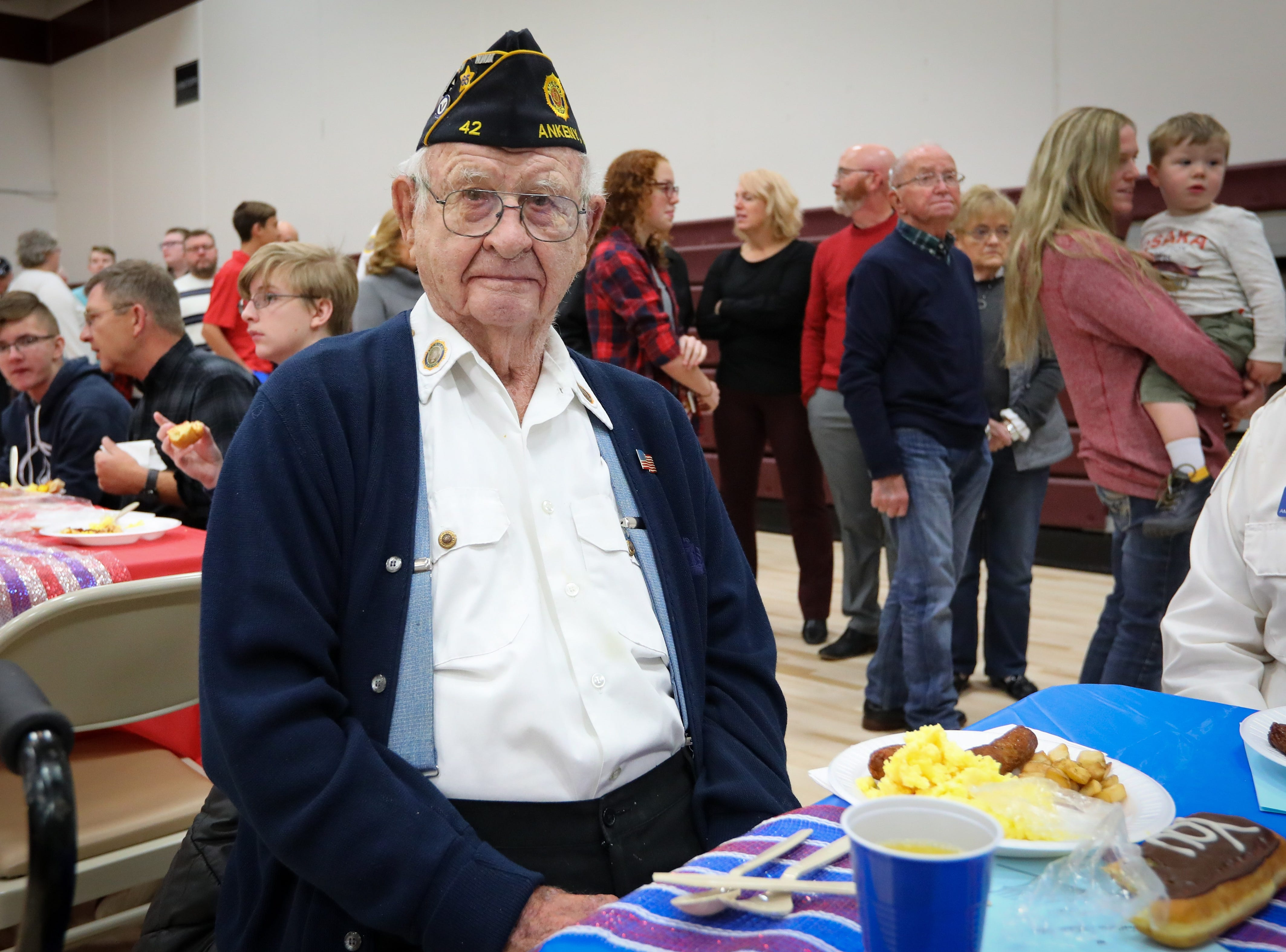 Gerald Ballard, a lifelong Ankeny resident who served in the Coast Guard and is a WWII veteran, poses for a photo during Veterans Day Breakfast at Northview Middle School on Wednesday, Nov. 14, 2018 in Ankeny, Iowa.
