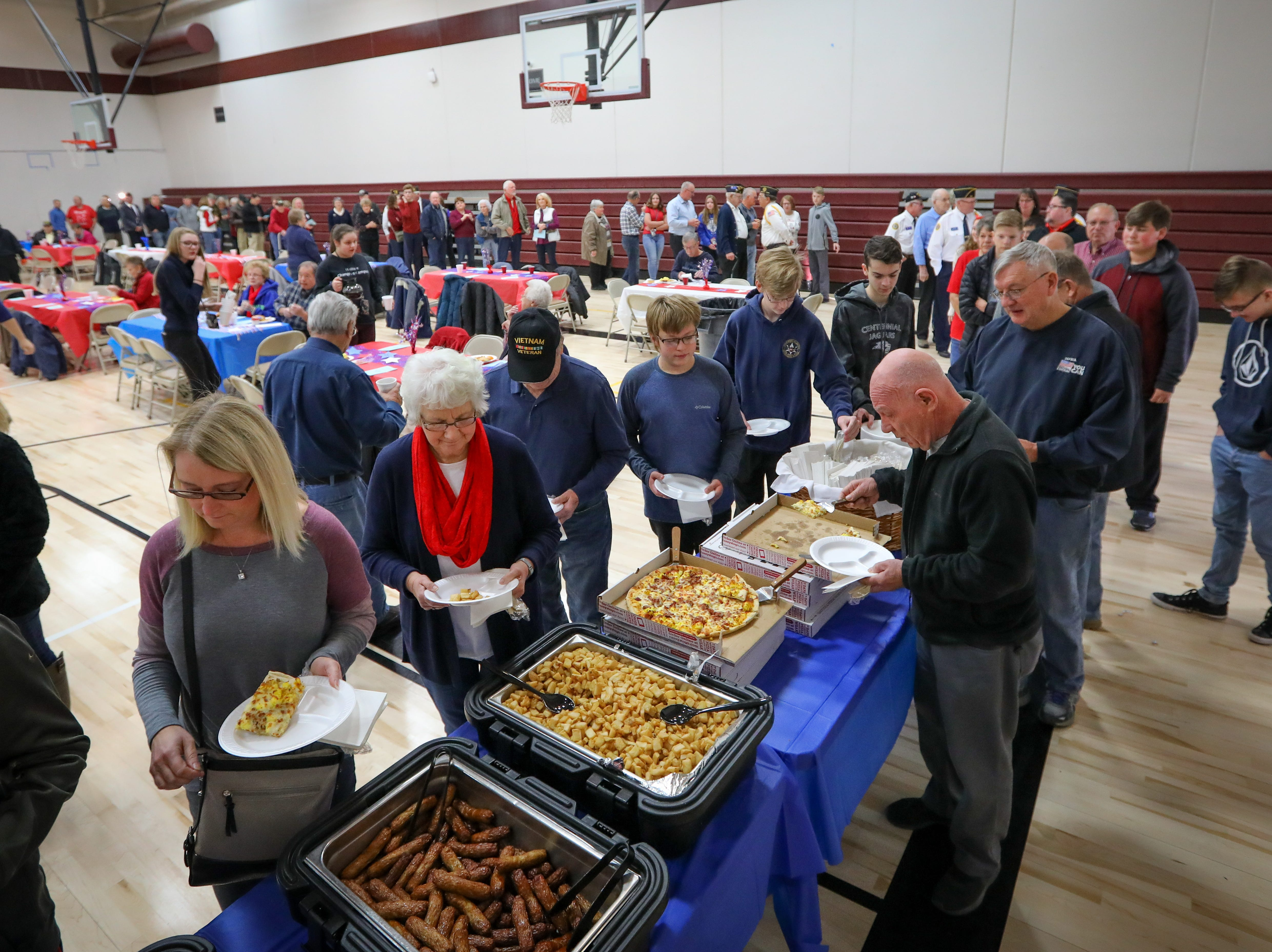 A general view of Veterans Day Breakfast at Northview Middle School on Wednesday, Nov. 14, 2018 in Ankeny, Iowa. Middle school students hosted the veterans to share their gratitude before an assembly.