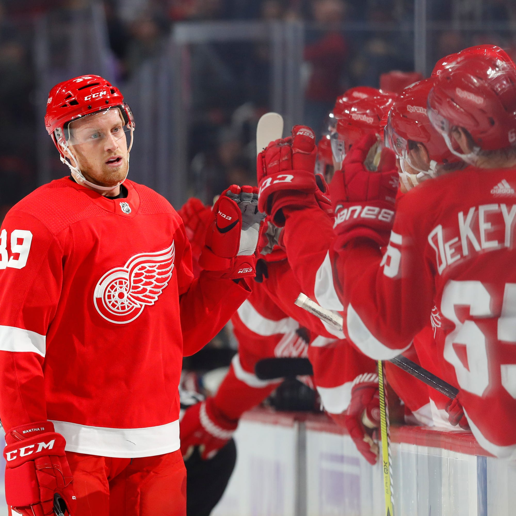 Detroit Red Wings' Anthony Mantha celebrates his goal against the Arizona Coyotes in the first period of an NHL hockey game, Tuesday, Nov. 13, 2018, in Detroit. (AP Photo/Paul Sancya)