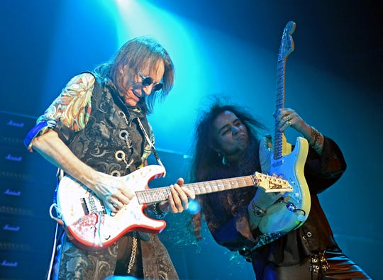 1065805866.jpg LAS VEGAS, NEVADA - NOVEMBER 09:  Guitarists Steve Vai (L) and Yngwie Malmsteen perform during the Generation Axe show at The Joint inside the Hard Rock Hotel & Casino on November 9, 2018 in Las Vegas, Nevada.  (Photo by Ethan Miller/Getty Images)