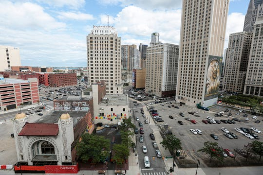 Monroe Blocks across Monroe Street from One Campus Martius and One Campus Martius Parking Garage, Friday, August 18, 2017 in downtown Detroit.