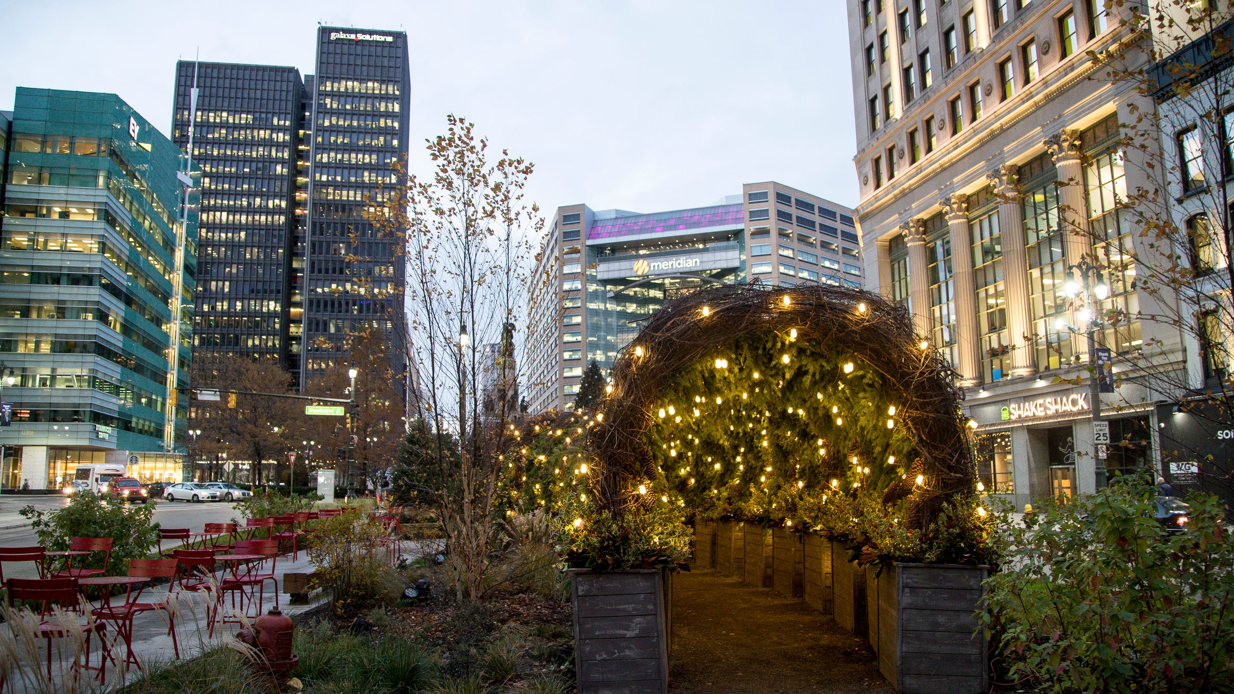 A holiday tunnel on Woodward Avenue near Campus Martius Park in downtown Detroit, Tuesday, Nov. 13, 2018. Tunnel is designed by Groundswell Design Group.