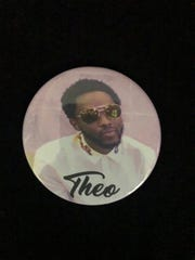 A button with a photo of Theoddeus (Theo) Gray, 29, of Detroit, who was shot and killed by St. Clair Shores Police on Nov. 4, 2018.