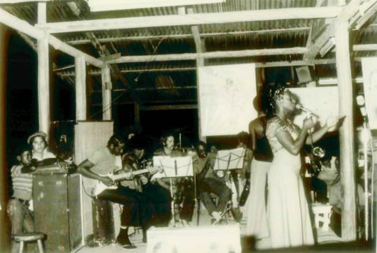 Marthea Hicks, right, Shirley Hicks behind her, with band during a Jonestown performance in 1978. The two were sisters, who both had children die in the massacre.