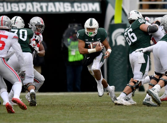 Michigan State running back Connor Heyward managed just one yard on four carries against Ohio State on Saturday.