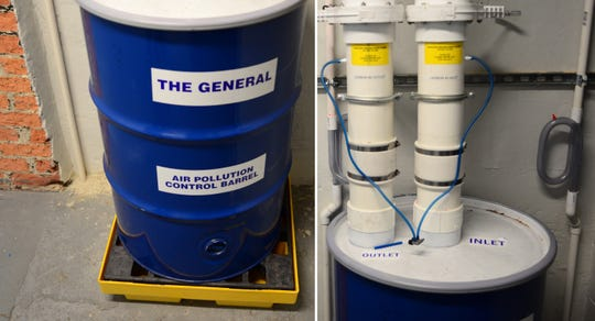A system sucks up contaminated air from the ground underneath the Franklin Village Plaza building and deposits it into this 55 gallon drum, which strips it of toxic chemicals before it is ejected outside via rooftop vents. The drums are taken to secure landfills, once full.