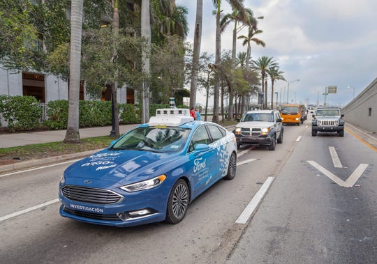Ford Motor Co. and its partner Argo AI spent a day in Miami showing how their self-driving vehicle navigates unpredictable downtown Miami streets in autonomous mode.