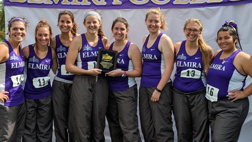 Elmira College women's runners after their invitational victory Sept. 22 at the SUNY Poly Wildcat Weekend Classic.