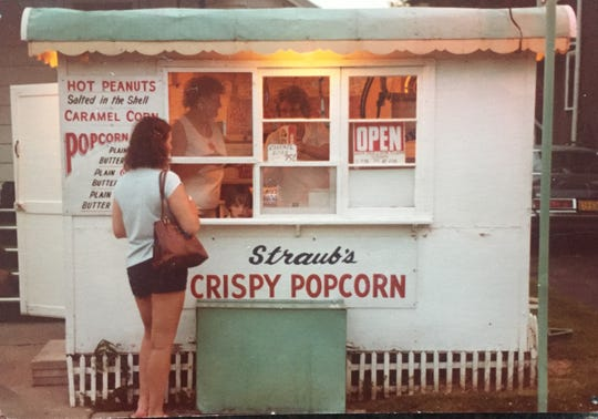 Delores Straub, left, works in the popcorn stand with her mother-in-law Agatha Straub.  Picture was taken about 30 years ago in front of Agatha's home, located at 280 S. Main Street.