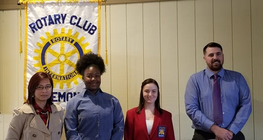 From left are Angelica Rinehart, Fremont Rotary Club President; Mychael Torre, Fremont Ross High School; Chelcie Stanley, Vanguard Sentinenl Career Tech Center, and Zach Brickner, Terra State Community College.