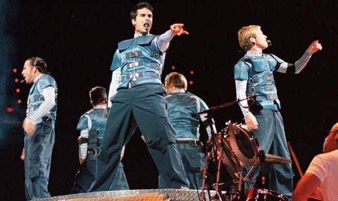 The Backstreet Boys, left to right, Howie Dorough, A.J. McLean, Kevin Richardson, Nick Carter, and Brian Littrell performing in 2004.