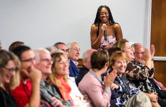 "Kaela Thompson, 20 of Fort Lauderdale and an junior at FGCU, gets a rise out of the crowd after letting Liasson know she used to listen to her with her dad on the way to school when she was younger. ""That's the voice"", Thompson said. NPR's Mara Liasson was the keynote speaker at the 2018 First Amendment Festival held at FGCU. She spoke about politics in America to a large crowd Tuesday evening, November 13, 2018."