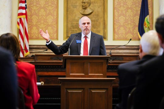Montana state House Speaker-elect Rep. Greg Hertz, from Polson, talks to the House Republican caucus. Hertz was elected leader in the House on Wednesday, Nov. 14, 2018, at the State Capitol in Helena, Mont. (Thom Bridge/Independent Record via AP)