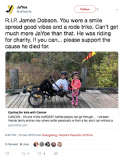 Screen shot from Twitter showing James Dobson, who was killed in a cycling accident Tuesday, Nov. 13, 2018, in Lamar County, Mississippi.
