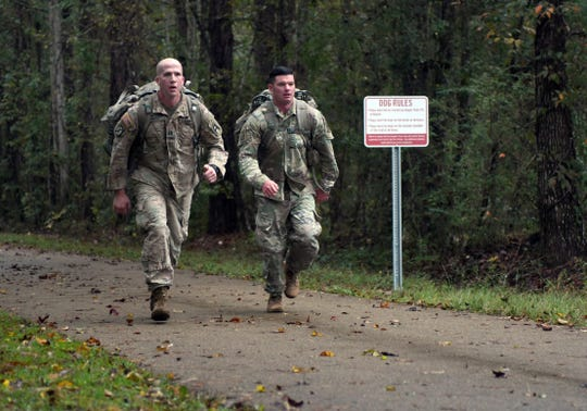 Soldiers at Camp Shelby participate in a 10K Food Drive Ruck March Wednesday, Nov. 14, 2018. A training accident at the camp Wednesday, Oct. 2, 2019 left 22 soldiers injured.