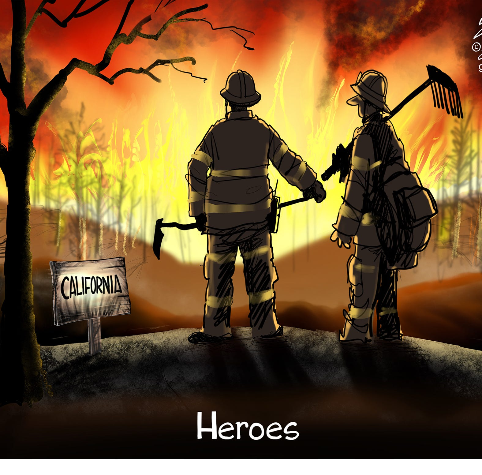Cartoonist Gary Varvel: California firefighters