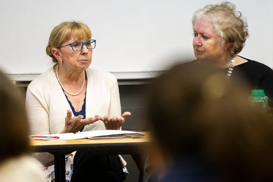 Ann Rhodes, University of Iowa clinical professor and former vice president for university relations, speaks during a panel on Tuesday, Nov. 13, 2018, at the Iowa Memorial Union in Iowa City.