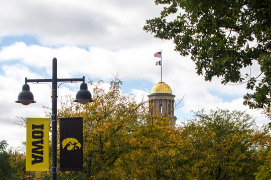 The dome of the Old Capitol building is seen Thursday, Oct. 11, 2018, from Iowa Avenue in Iowa City.