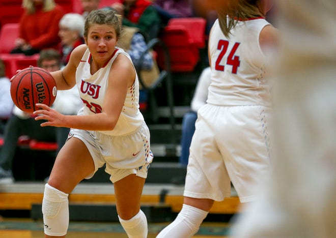 USJ's Olivia Jones (20) moves down the court during a TSSAA girls basketball game between USJ and Greenfield at University School of Jackson in Jackson, Tenn., on Tuesday, Nov. 13, 2018.