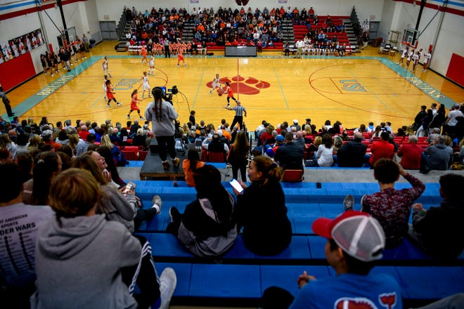 Fans fill the stands on both USJ and Greenfield's side during a TSSAA girls basketball game between USJ and Greenfield at University School of Jackson in Jackson, Tenn., on Tuesday, Nov. 13, 2018.