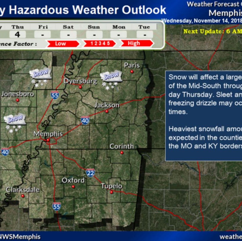 NWS: Winter weather advisory remains in effect for West Tennessee