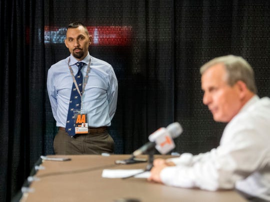Assistant Athletic Director of Communications, Tom Satkowiak during Rick Barnes post game press conference after the Georgia Tech game on Wednesday, November 14, 2018.
