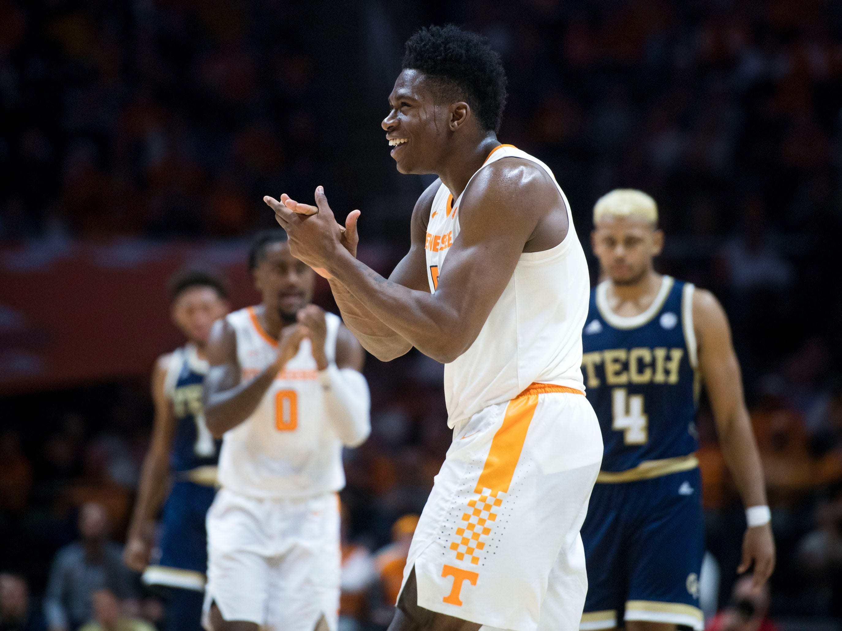 Tennessee's Admiral Schofield (5) celebrates during the game against Georgia Tech on Tuesday, November 13, 2018.