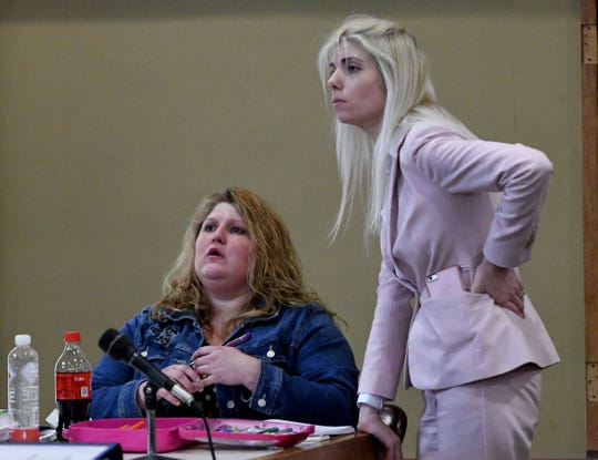 Tina Cody, left, and her attorney Samantha McCammon during the trial Wednesday, November 14, 2018 in Sevier County Criminal Court. Brian Mullinax and Cody are charged with causing a Sevier County deputy's panic attack after he – Justin Johnson – opened fire on them and they were on the ground.