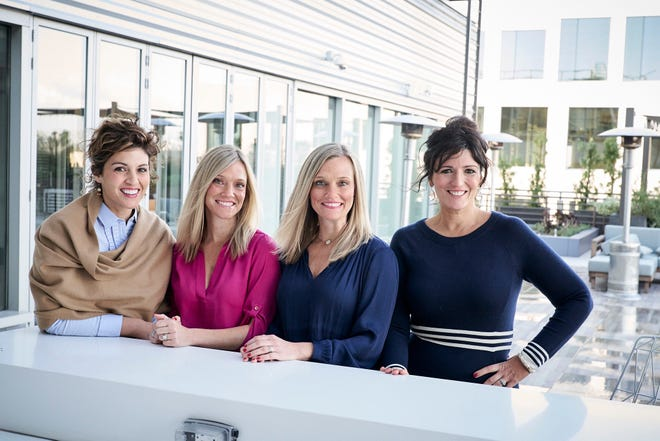 Juggle founders from left to right: Annie Kentris Arthur, CEO; Amber Lear Nolan, chief recruiting officer; Ashlee Lear Giannetti, chief operations officer; and Emily Kentris Music, chief communications officer.