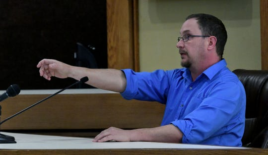 Paramedic Blake Gregg testifies about the way Brian Mullinax was holding his cellphone as Sevier County Deputy Justin Johnson was chasing Tina Cody. Their trial started Wednesday, November 14, 2018.
