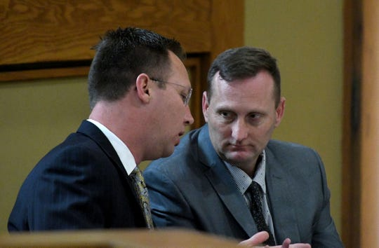 Former deputy Justin Johnson testifies a second time during the trial of Brian Mullinax and Tina Cody Thursday.