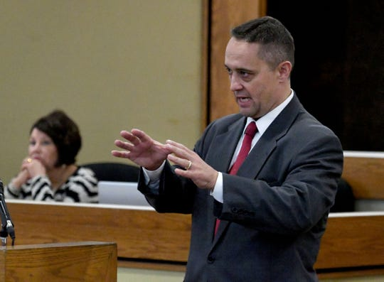Sevier County Assistant District Attorney General Ron C. Newcomb makes his opening statement in the trial of Brian Mullinax and Tina Cody who are charged with causing a Sevier County deputy's panic attack after he – Justin Johnson – opened fire on them and they were on the ground. Their trial started Wednesday, November 14, 2018.