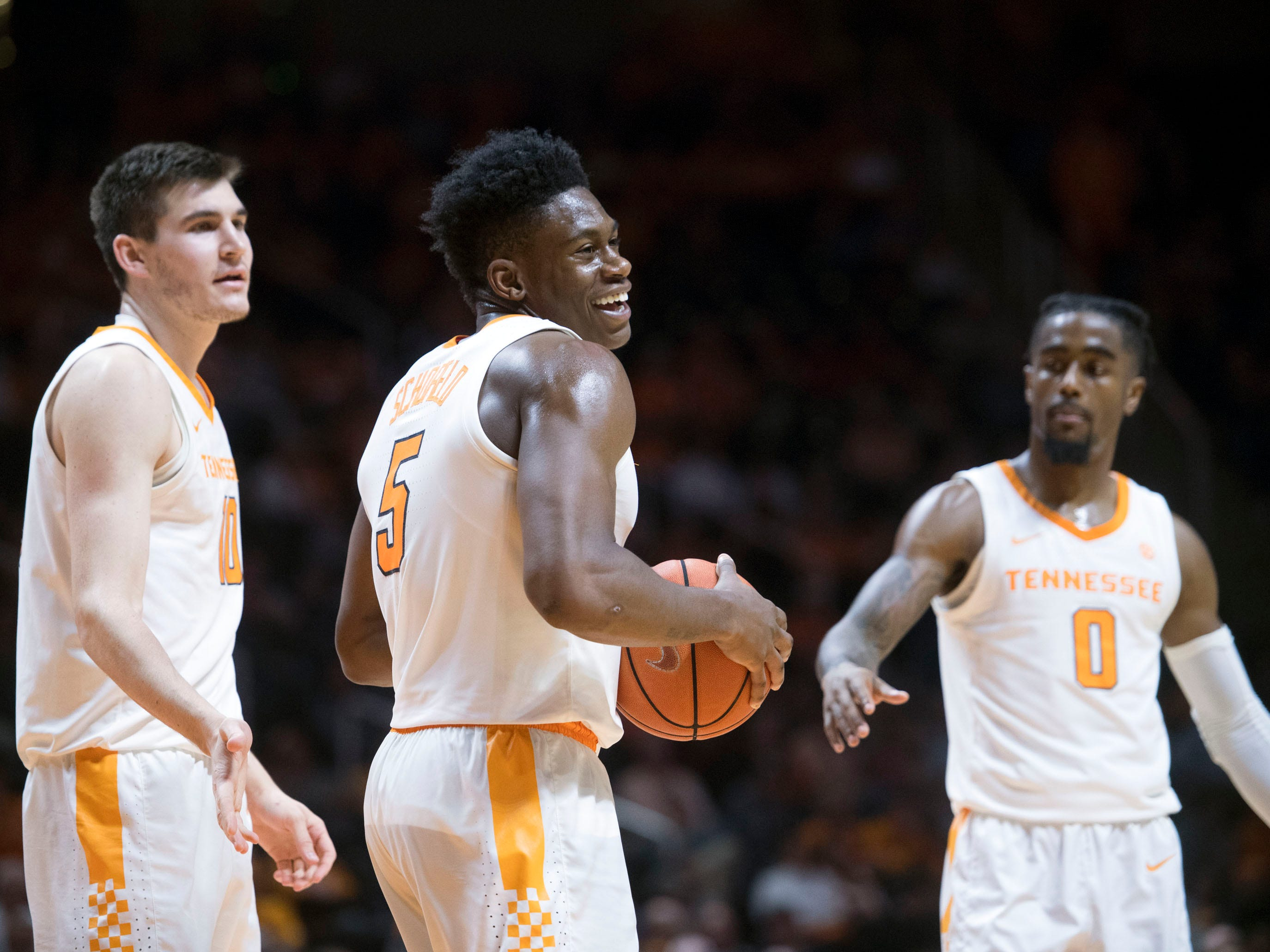 Tennessee's Admiral Schofield (5) laughs after he fouls a Georgia Tech player on Wednesday, November 14, 2018.